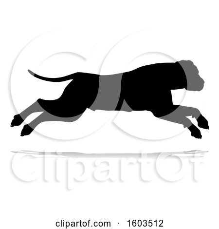Clipart of a Silhouetted Mastiff Dog, with a Reflection or Shadow, on a White Background - Royalty Free Vector Illustration by AtStockIllustration