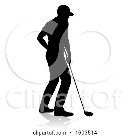 Clipart of a Silhouetted Male Golfer, with a Reflection or Shadow, on a White Background - Royalty Free Vector Illustration by AtStockIllustration
