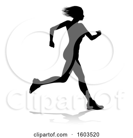 Clipart of a Silhouetted Female Runner, with a Reflection or Shadow, on a White Background - Royalty Free Vector Illustration by AtStockIllustration
