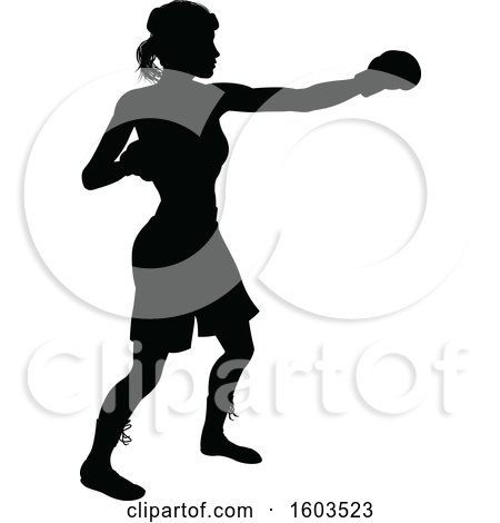 Clipart of a Black Silhouetted Female Boxer Fighter Wearing Safety Head Gear - Royalty Free Vector Illustration by AtStockIllustration
