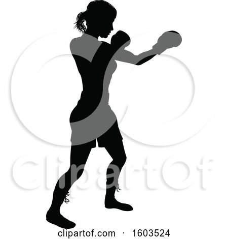 Clipart of a Black Silhouetted Female Boxer Fighter - Royalty Free Vector Illustration by AtStockIllustration