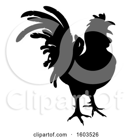 Clipart of a Black Silhouetted Rooster - Royalty Free Vector Illustration by AtStockIllustration