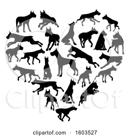 Clipart of a Heart Made of Silhouetted Great Dane Dogs - Royalty Free Vector Illustration by AtStockIllustration