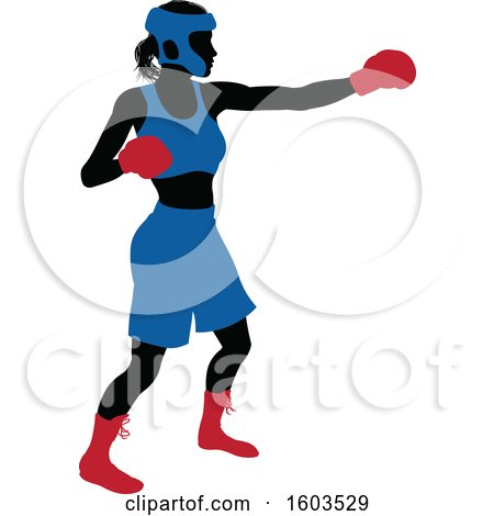 Clipart of a Black Silhouetted Female Boxer Fighter in a Blue Uniform with Red Shoes and Gloves - Royalty Free Vector Illustration by AtStockIllustration