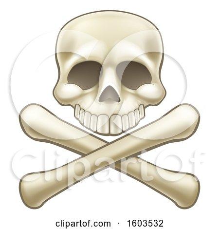 Clipart of a Human Skull over Crossbones - Royalty Free Vector Illustration by AtStockIllustration