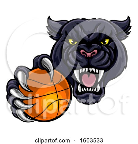 Clipart of a Tough Black Panther Monster Mascot Holding out a Basketball in One Clawed Paw - Royalty Free Vector Illustration by AtStockIllustration
