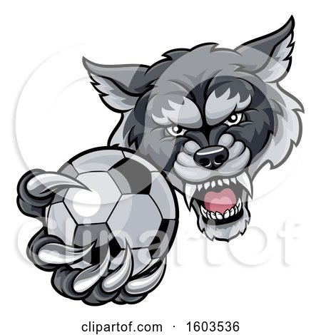 Clipart of a Tough Wolf Monster Mascot Holding out a Soccer Ball in One Clawed Paw - Royalty Free Vector Illustration by AtStockIllustration