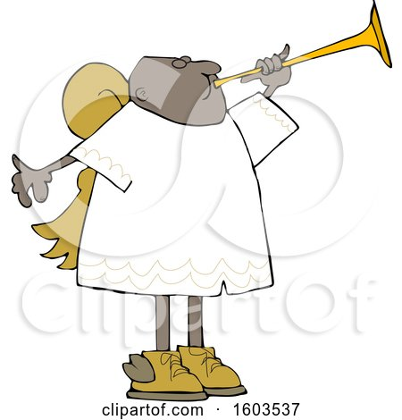 Clipart of a Cartoon Black Male Angel Blowing a Horn - Royalty Free Vector Illustration by djart
