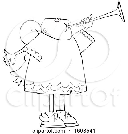 Clipart of a Cartoon Lineart Black Male Angel Blowing a Horn - Royalty Free Vector Illustration by djart