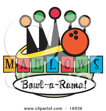 Bowling Ball Sign For Marlows Bowl O Rama Clipart Illustration by Andy Nortnik