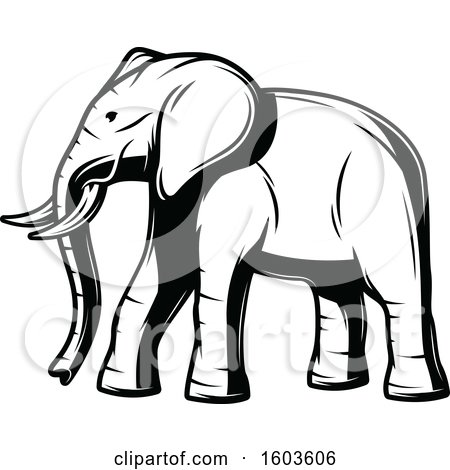 Clipart of a Walking Elephant in Black and White - Royalty Free Vector Illustration by Vector Tradition SM