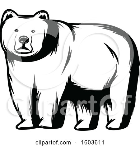 Clipart of a Bear in Black and White - Royalty Free Vector Illustration by Vector Tradition SM
