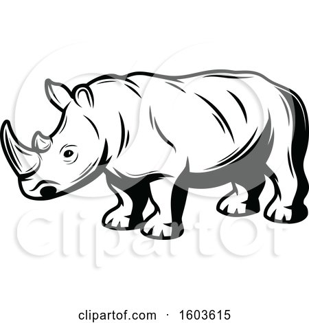 Clipart of a Rhinoceros in Black and White - Royalty Free Vector Illustration by Vector Tradition SM