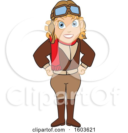 Clipart of a Female Pilot Amelia Earhart School Mascot Character - Royalty Free Vector Illustration by Toons4Biz