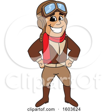 Clipart of a Male Pilot Aviator Mascot Character - Royalty Free Vector Illustration by Toons4Biz