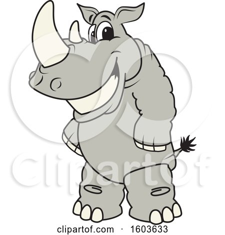 Clipart of a Rhinoceros School Mascot Character - Royalty Free Vector Illustration by Toons4Biz