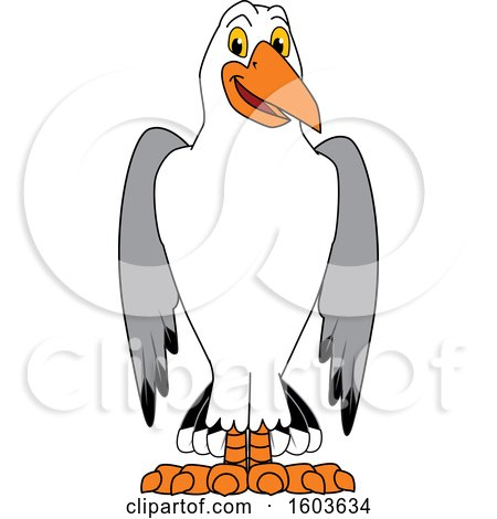 Clipart of a Seagull School Mascot Character - Royalty Free Vector Illustration by Toons4Biz