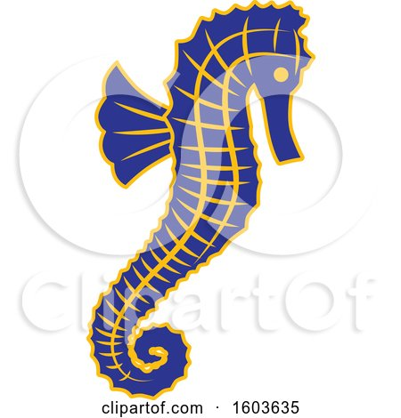 Clipart of a Blue Seahorse School Mascot Character - Royalty Free Vector Illustration by Toons4Biz