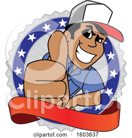 Clipart of a Male Trucker Mascot Character Giving a Thumb up over a Blank Banner and Badge - Royalty Free Vector Illustration by Toons4Biz