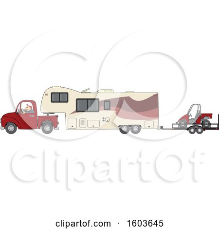 Clipart of a Cartoon White Man Driving a Pickup Truck and Hauling a Camper Fifth Wheel Trailer with an Atv on a Trailer - Royalty Free Vector Illustration by djart