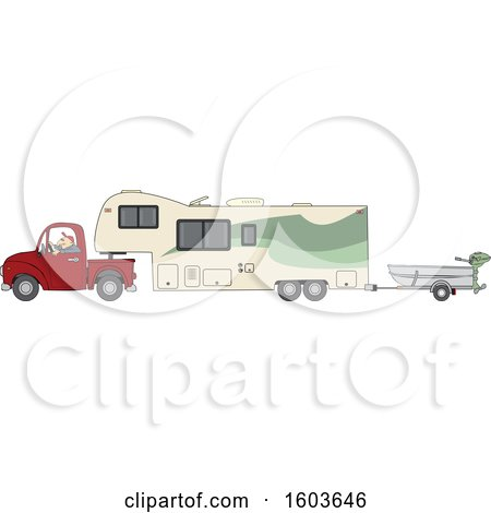 Clipart of a Cartoon White Man Driving a Pickup Truck and Hauling a Camper Fifth Wheel Trailer with a Boat on a Trailer - Royalty Free Vector Illustration by djart