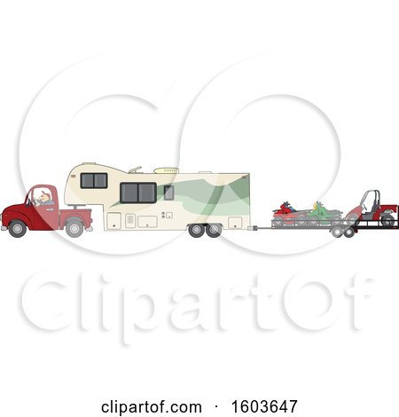 Clipart of a Cartoon White Man Driving a Pickup Truck and Hauling a Camper Fifth Wheel Trailer with a Trailer of ATVs - Royalty Free Vector Illustration by djart