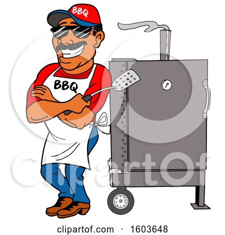 Clipart of a Black Man Holding a Spatula in Folded Arms and Leaning Against a Bbq Smoker - Royalty Free Vector Illustration by LaffToon