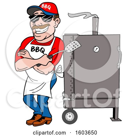 Clipart of a White Man Holding a Spatula in Folded Arms and Leaning Against a Bbq Smoker - Royalty Free Vector Illustration by LaffToon
