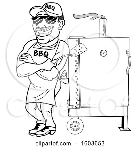 Clipart of a Lineart Man Holding a Spatula in Folded Arms and Leaning Against a Bbq Smoker - Royalty Free Vector Illustration by LaffToon