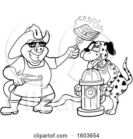 Clipart of a Lineart Drooling Dalmatian Dog and Pig Fireman Chef Holding up Fiery Ribs - Royalty Free Vector Illustration by LaffToon