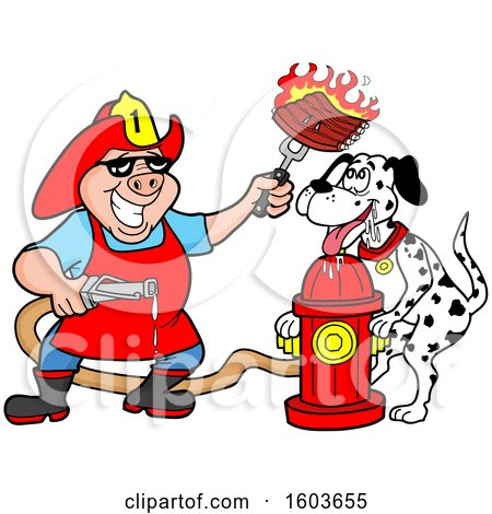 Clipart of a Drooling Dalmatian Dog and Pig Fireman Chef Holding up Fiery Ribs - Royalty Free Vector Illustration by LaffToon