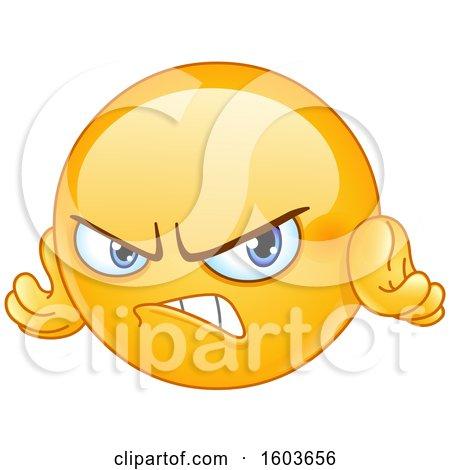 Clipart of a Cartoon Yellow Emoji Looking Angry - Royalty Free Vector Illustration by yayayoyo