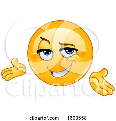 Clipart of a Cartoon Yellow Emoji Presenting Confidently - Royalty Free Vector Illustration by yayayoyo