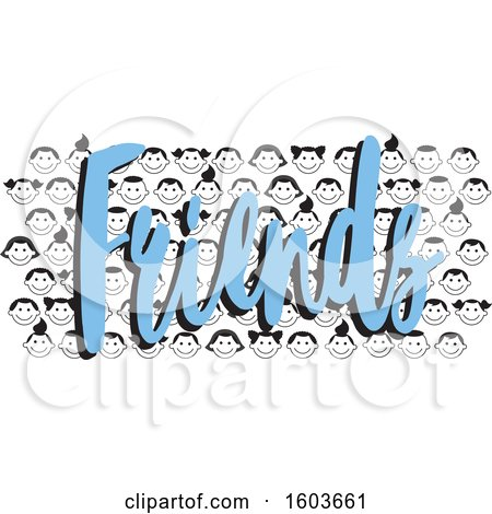 Clipart of a Crowd of Child Faces and the Word Friends in Blue - Royalty Free Vector Illustration by Johnny Sajem