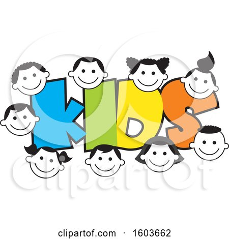 Clipart of the Colorful Word Kids Surrounded by Faces of Children - Royalty Free Vector Illustration by Johnny Sajem