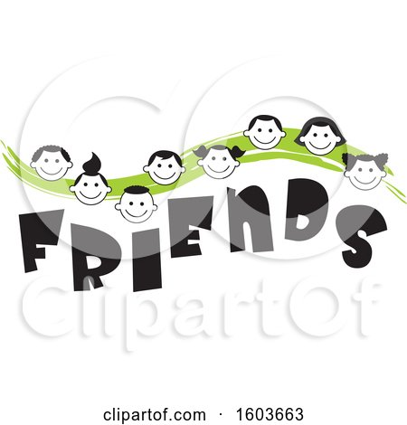 Clipart of a Green Wave with Faces of Children over the Word Friends - Royalty Free Vector Illustration by Johnny Sajem