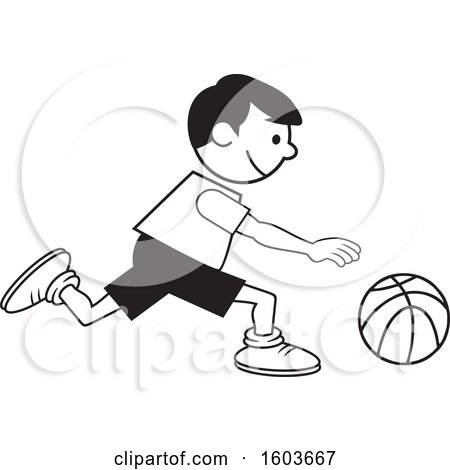 Clipart of a Black and White Boy Dribbling a Basketball - Royalty Free Vector Illustration by Johnny Sajem