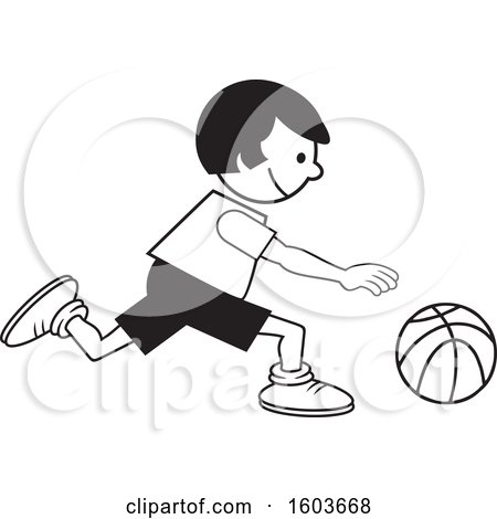Clipart of a Girl Dribbling a Basketball - Royalty Free Vector Illustration by Johnny Sajem