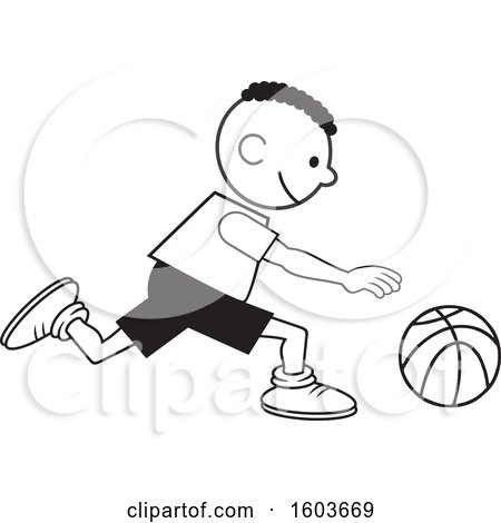 Clipart of a Black Boy Dribbling a Basketball - Royalty Free Vector Illustration by Johnny Sajem