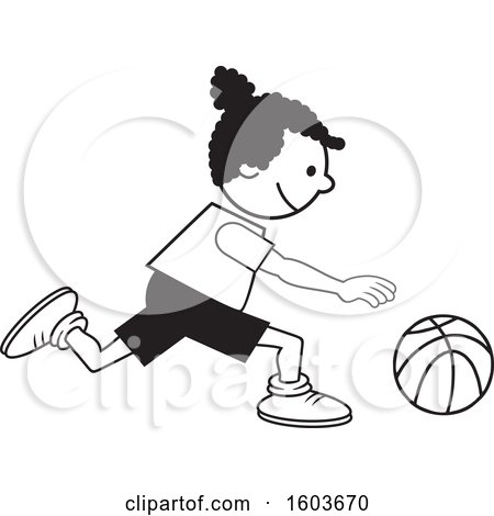 Clipart of a Black Girl Dribbling a Basketball - Royalty Free Vector Illustration by Johnny Sajem