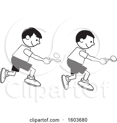 Clipart Of Boys During A Field Day Egg And Spoon Race