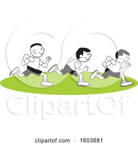 Clipart of a Group of Boys Running the One Hundred Yard Dash on Field Day - Royalty Free Vector Illustration by Johnny Sajem