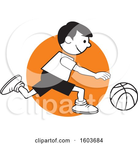 Clipart of a Boy Dribbling a Basketball over an Orange Circle - Royalty Free Vector Illustration by Johnny Sajem