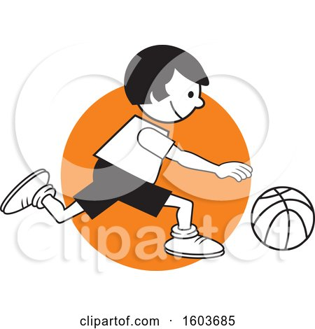 Clipart of a Girl Dribbling a Basketball over an Orange Circle - Royalty Free Vector Illustration by Johnny Sajem