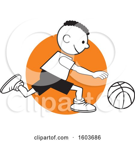 Clipart of a Black Boy Dribbling a Basketball over an Orange Circle - Royalty Free Vector Illustration by Johnny Sajem