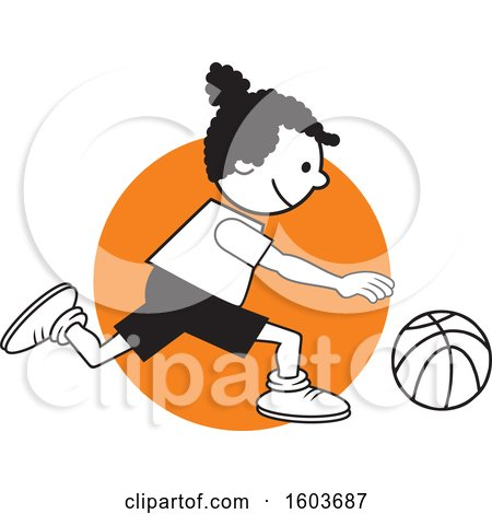 Clipart of a Black Girl Dribbling a Basketball over an Orange Circle - Royalty Free Vector Illustration by Johnny Sajem