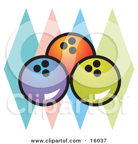 Three Bowling Balls And Colorful Diamonds Clipart Illustration by Andy Nortnik