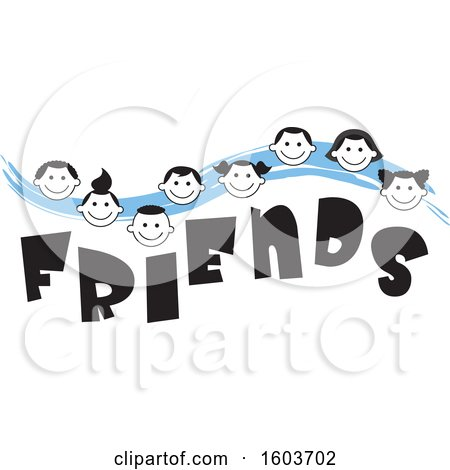 Clipart of a Blue Wave with Faces of Children over the Word Friends - Royalty Free Vector Illustration by Johnny Sajem