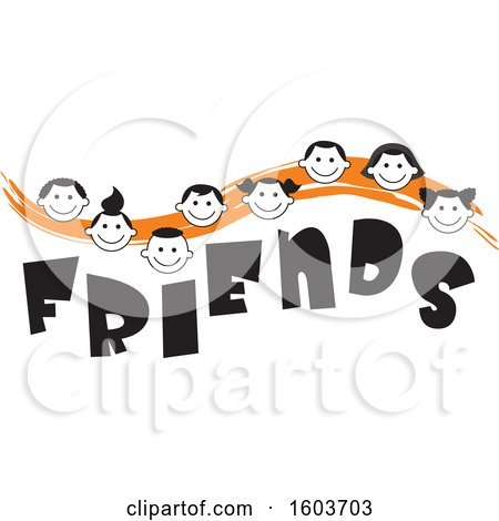 Clipart of an Orange Wave with Faces of Children over the Word Friends - Royalty Free Vector Illustration by Johnny Sajem