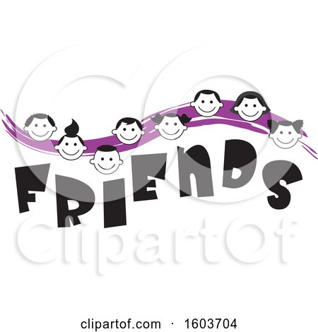 Clipart of a Purple Wave with Faces of Children over the Word Friends - Royalty Free Vector Illustration by Johnny Sajem